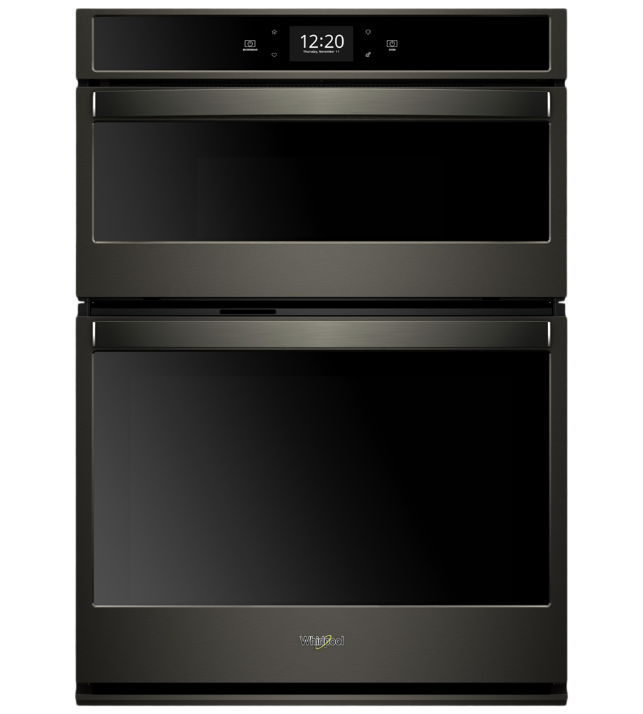 Whirlpool Combination wall oven in Stainless Steel color showcased by Corbeil Electro Store