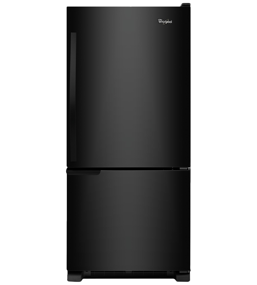 Whirlpool Refrigerator in Black color showcased by Corbeil Electro Store