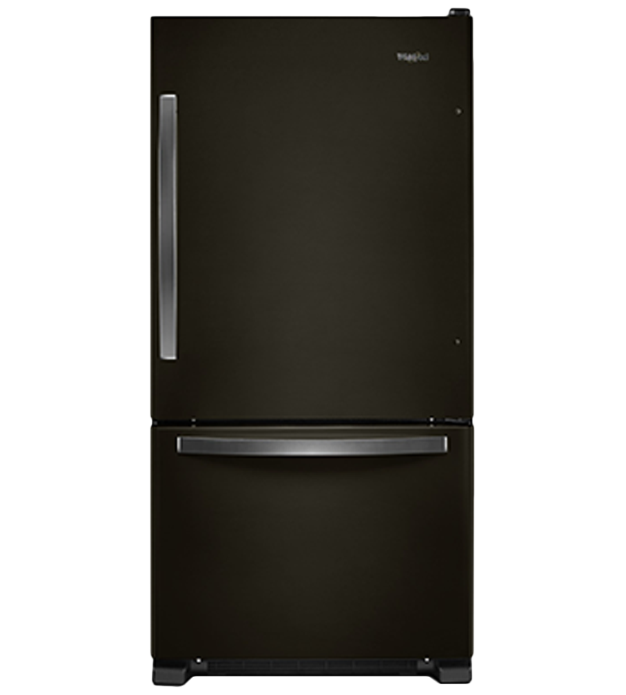 Whirlpool Refrigerator in Black Stainless Steel color showcased by Corbeil Electro Store
