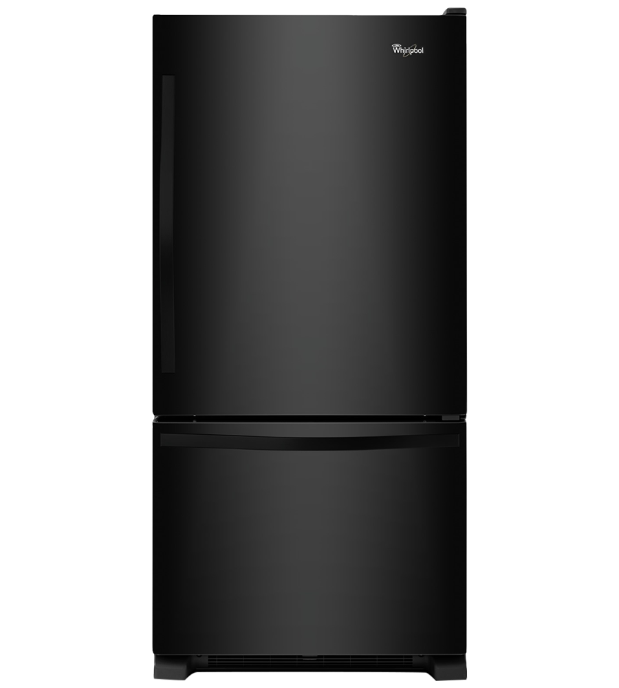 Whirlpool Refrigerator 30 WRB329DFB in Black color showcased by Corbeil Electro Store