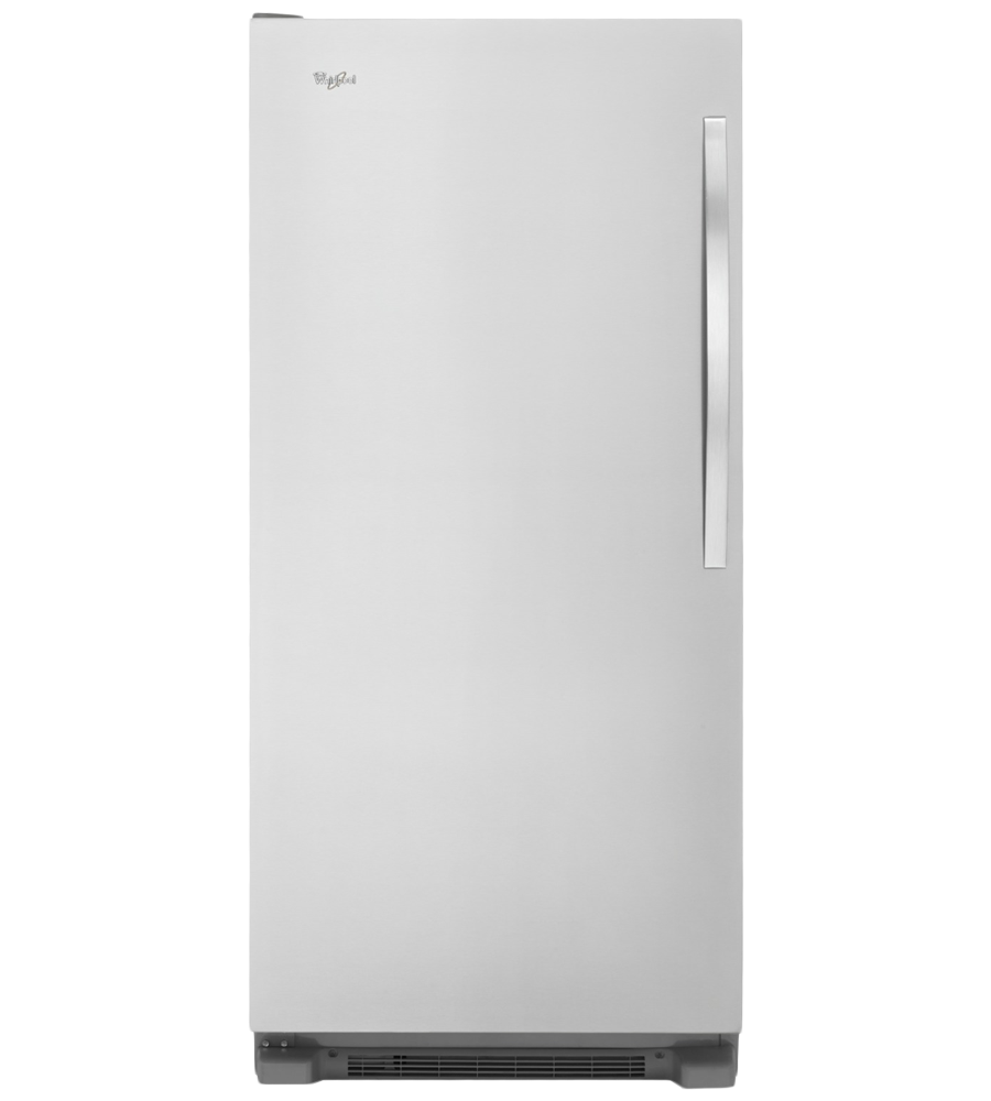 Whirlpool Freezer in Monochromatic Stainless Steel color showcased by Corbeil Electro Store