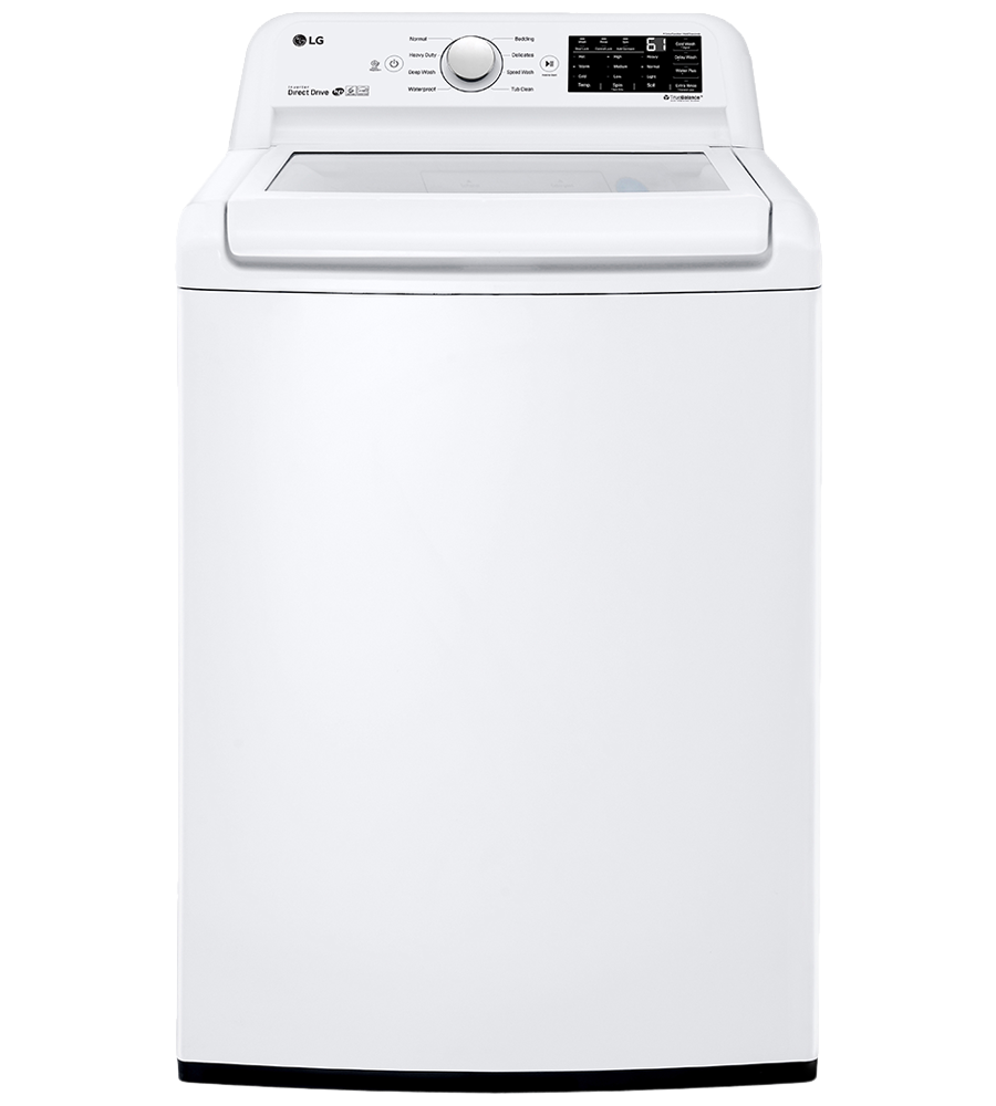 LG Washer 27 White WT7100CW in White color showcased by Corbeil Electro Store