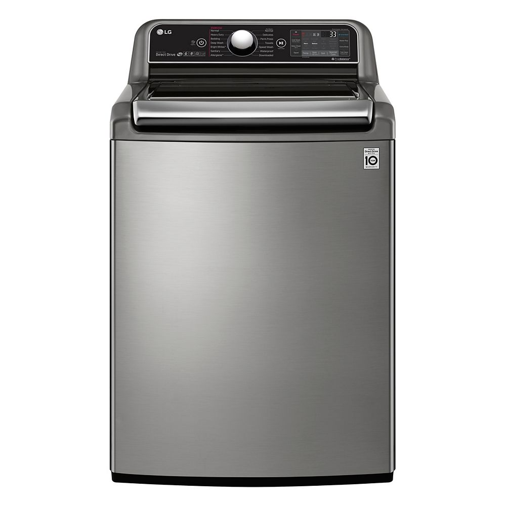 LG Washer WT7850HVA in Stainless Steel color showcased by Corbeil Electro Store