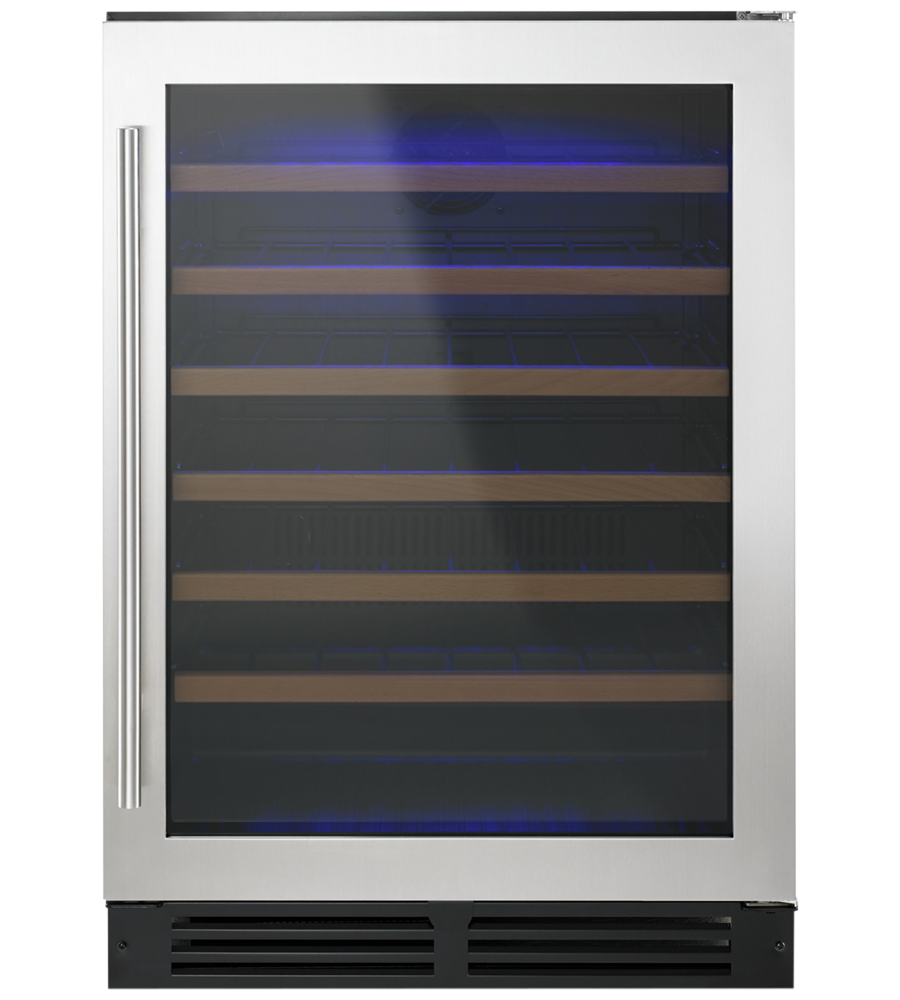 Whirlpool Wine cellar in Black on Stainless Steel color showcased by Corbeil Electro Store