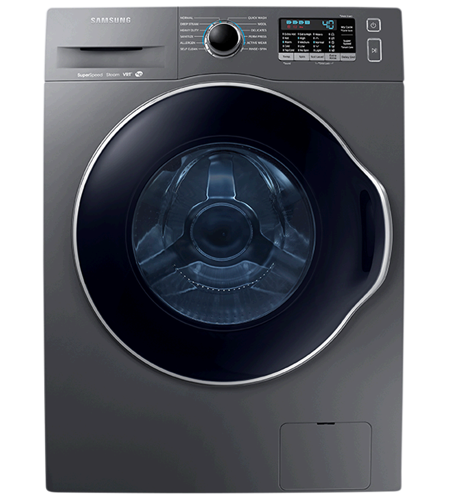 Samsung Washer 24 WW22K6800A in Platinum color showcased by Corbeil Electro Store
