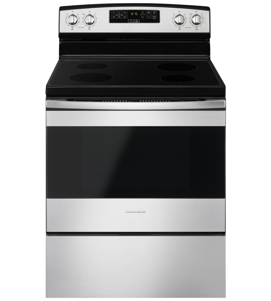 Amana Range 30 YAER6303MF in Stainless Steel color showcased by Corbeil Electro Store