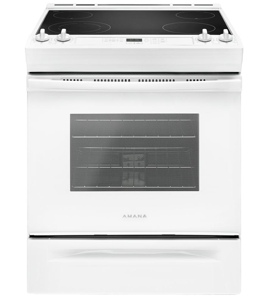 Amana Range 30 YAES6603SF in White color showcased by Corbeil Electro Store