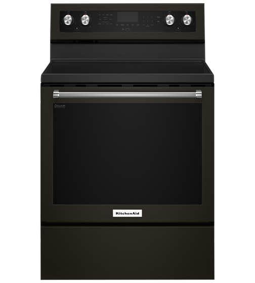 KitchenAid Range 30 YKFEG500E in Black Stainless Steel color showcased by Corbeil Electro Store