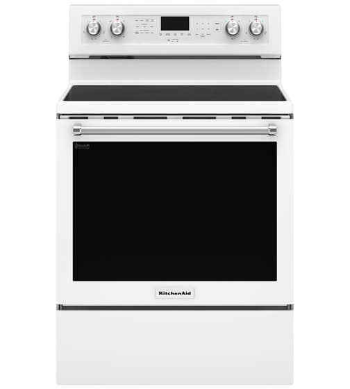 KitchenAid Range 30 YKFEG500E in White color showcased by Corbeil Electro Store