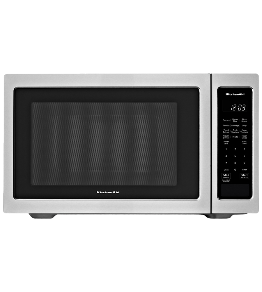 KitchenAid Microwave 22 StainlessSteel YKMCS1016GS in Stainless Steel color showcased by Corbeil Electro Store