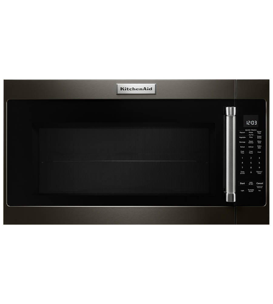 KitchenAid microwave in Black Stainless Steel color showcased by Corbeil Electro Store