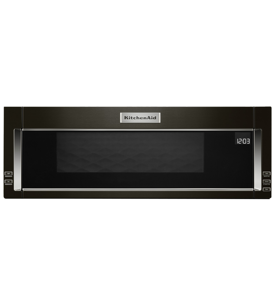 KitchenAid Over-the-range Microwave 30 YKMLS311H in Black Stainless Steel color showcased by Corbeil Electro Store