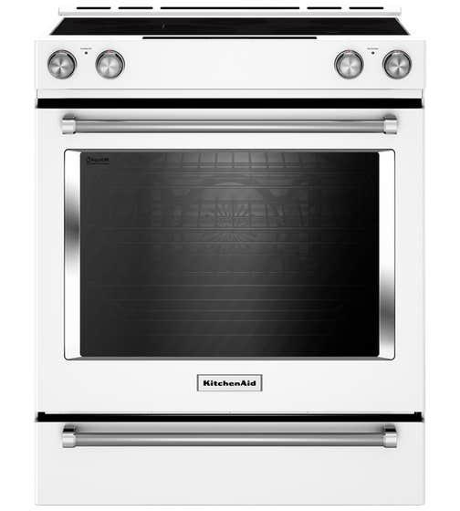KitchenAid Range 30 YKSEB900E in White color showcased by Corbeil Electro Store