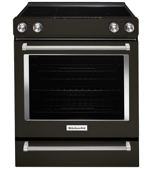 KitchenAid Range 30 YKSEG700E in Black Stainless Steel color showcased by Corbeil Electro Store