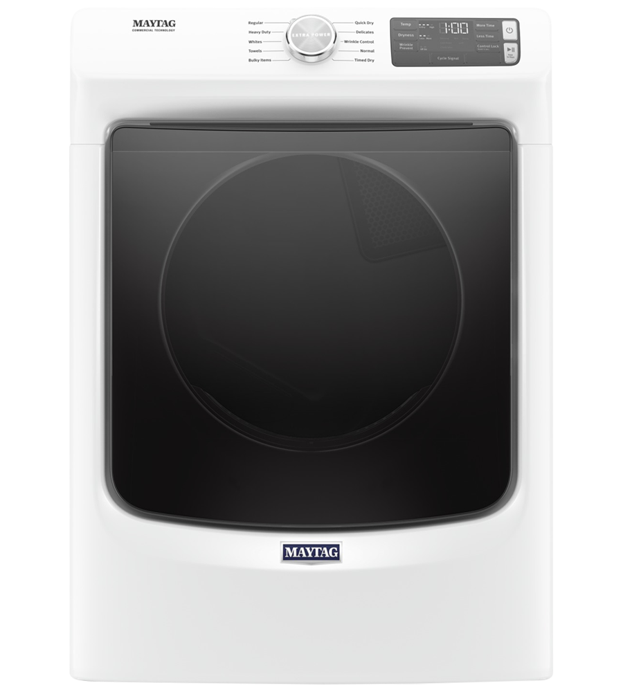 Maytag Dryer 27 White YMED5630HW in White color showcased by Corbeil Electro Store