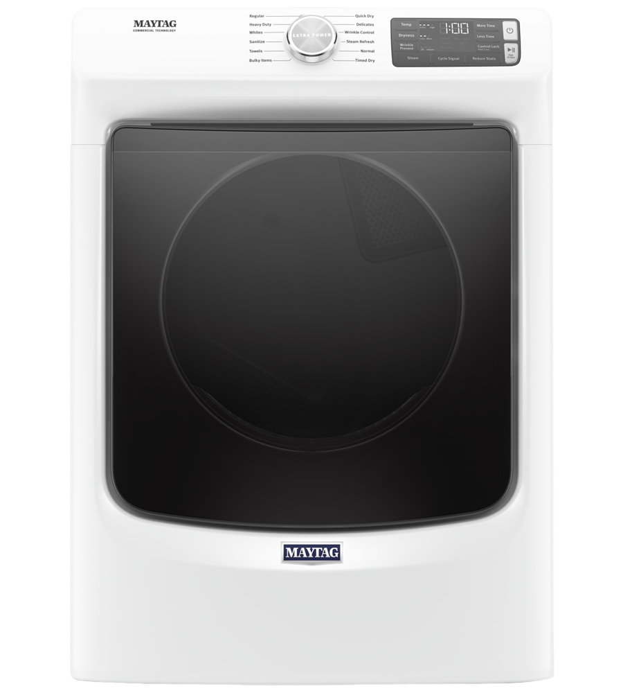 Maytag Dryer 27 YMED6630H in White color showcased by Corbeil Electro Store