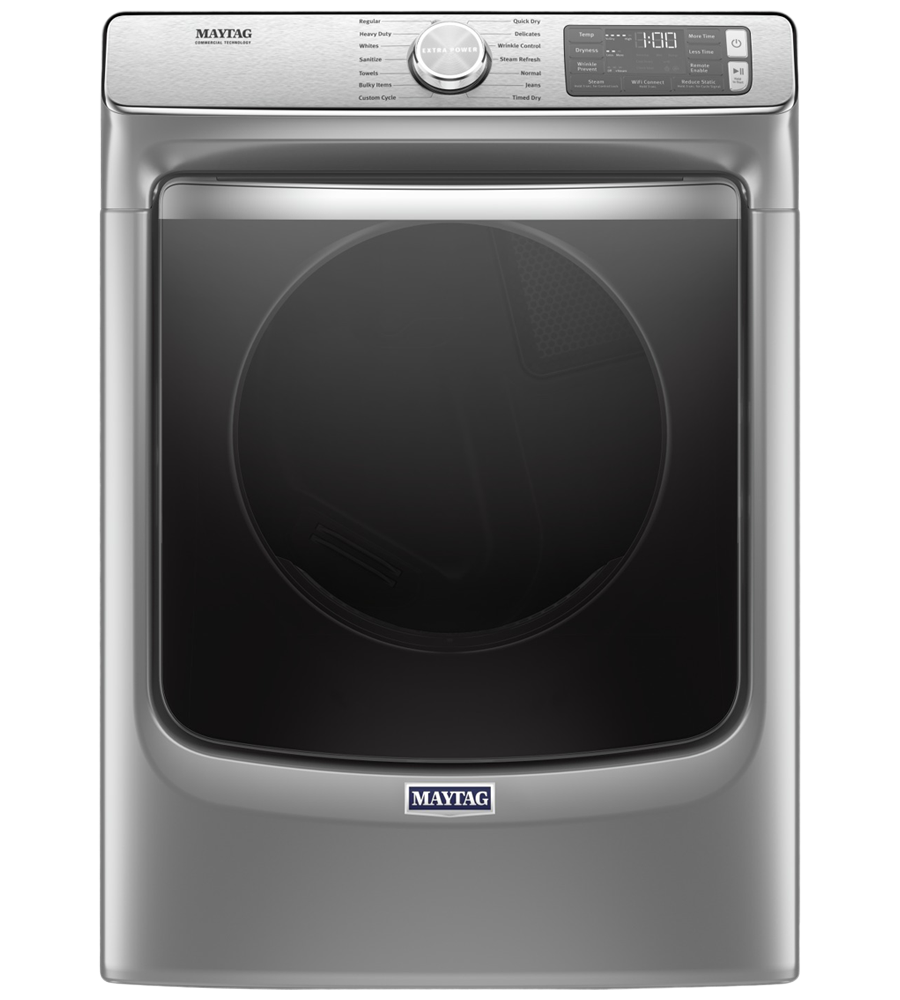 Maytag Dryer in Metallic Slate color showcased by Corbeil Electro Store