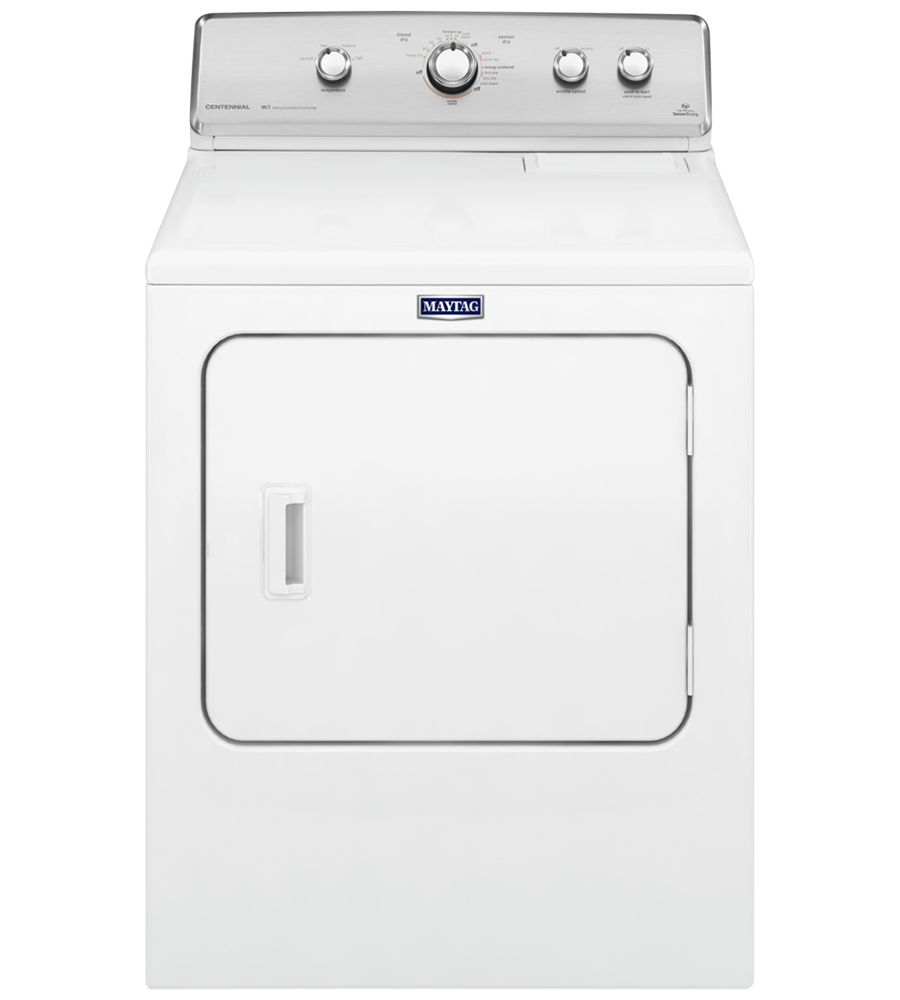 Maytag Dryer 29 White YMEDC555DW in White color showcased by Corbeil Electro Store
