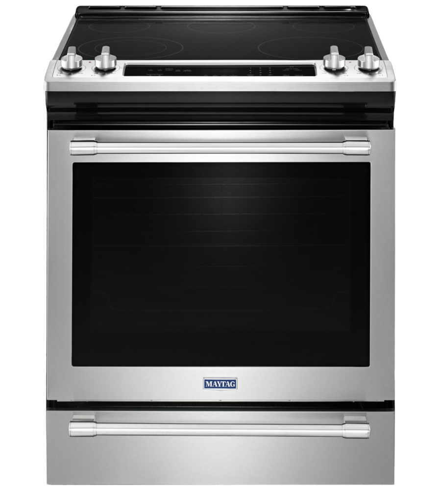 Maytag Range 30 StainlessSteel YMES8800FZ in Stainless Steel color showcased by Corbeil Electro Store