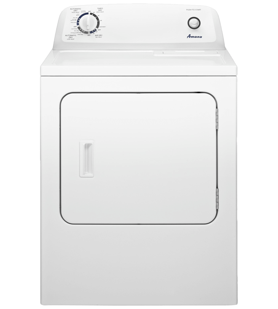 Amana Dryer 29 White YNED4655EW in White color showcased by Corbeil Electro Store