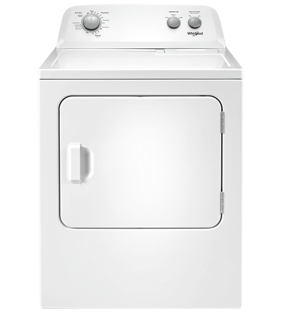 Whirlpool Dryer 29 White YWED4850HW in White color showcased by Corbeil Electro Store