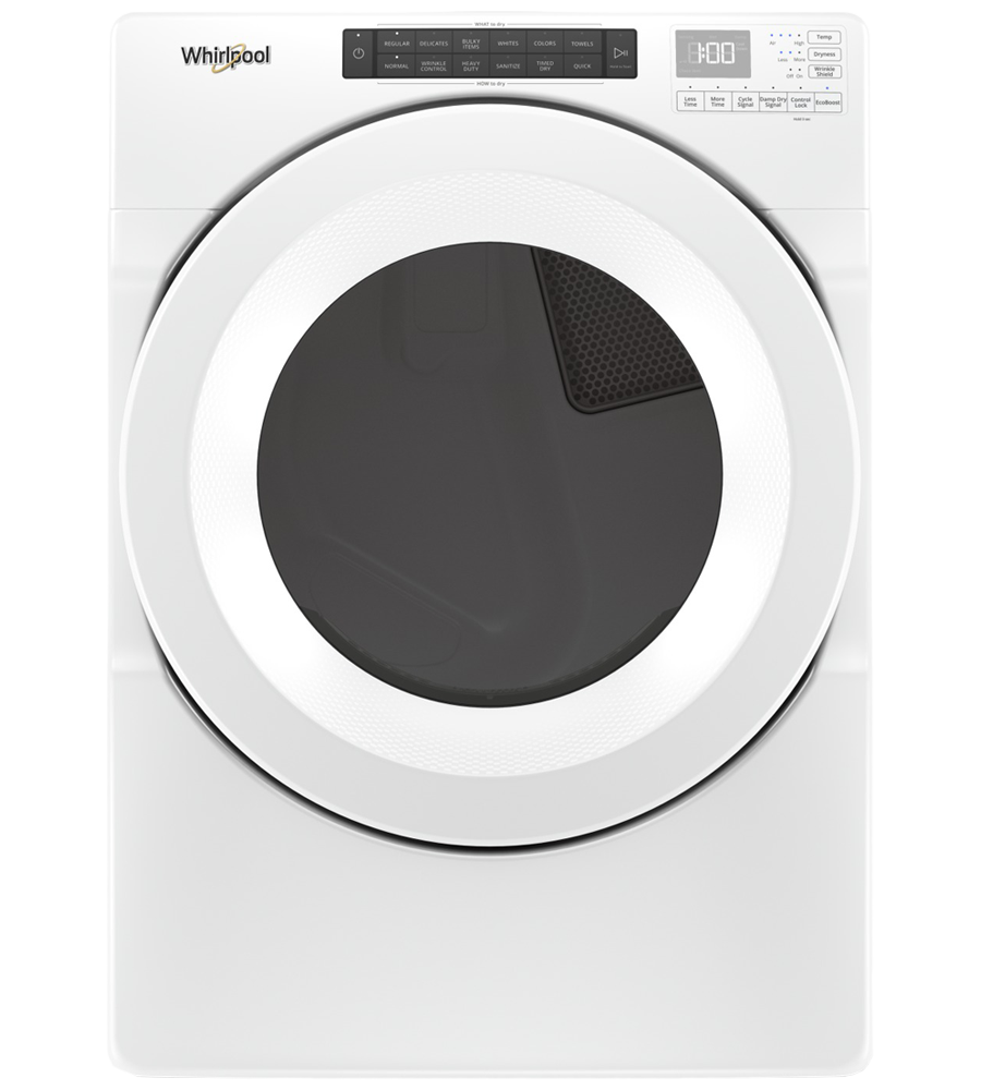 Whirlpool Dryer 27 White YWED5620HW in White color showcased by Corbeil Electro Store