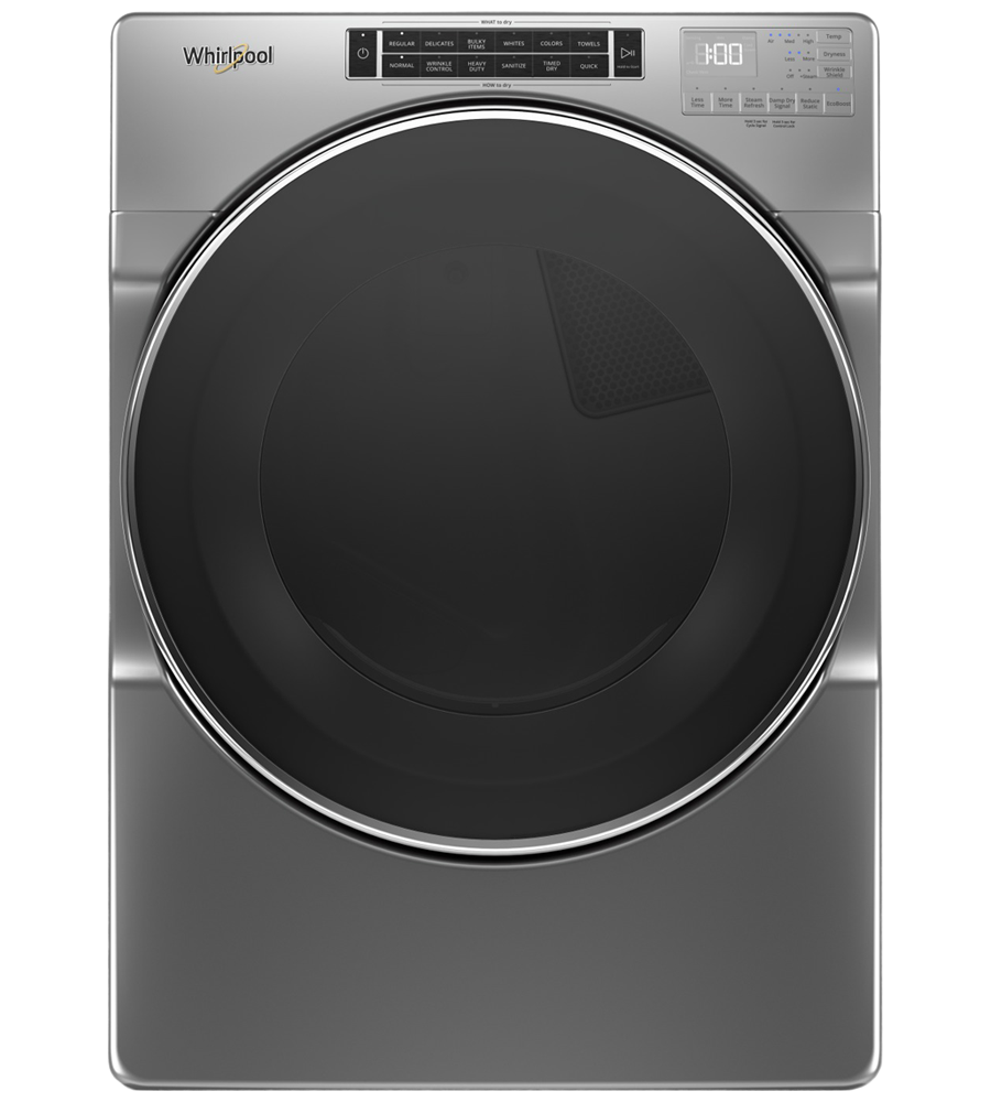 Whirlpool Dryer YWED8620HC in Chrome Shadow color showcased by Corbeil Electro Store