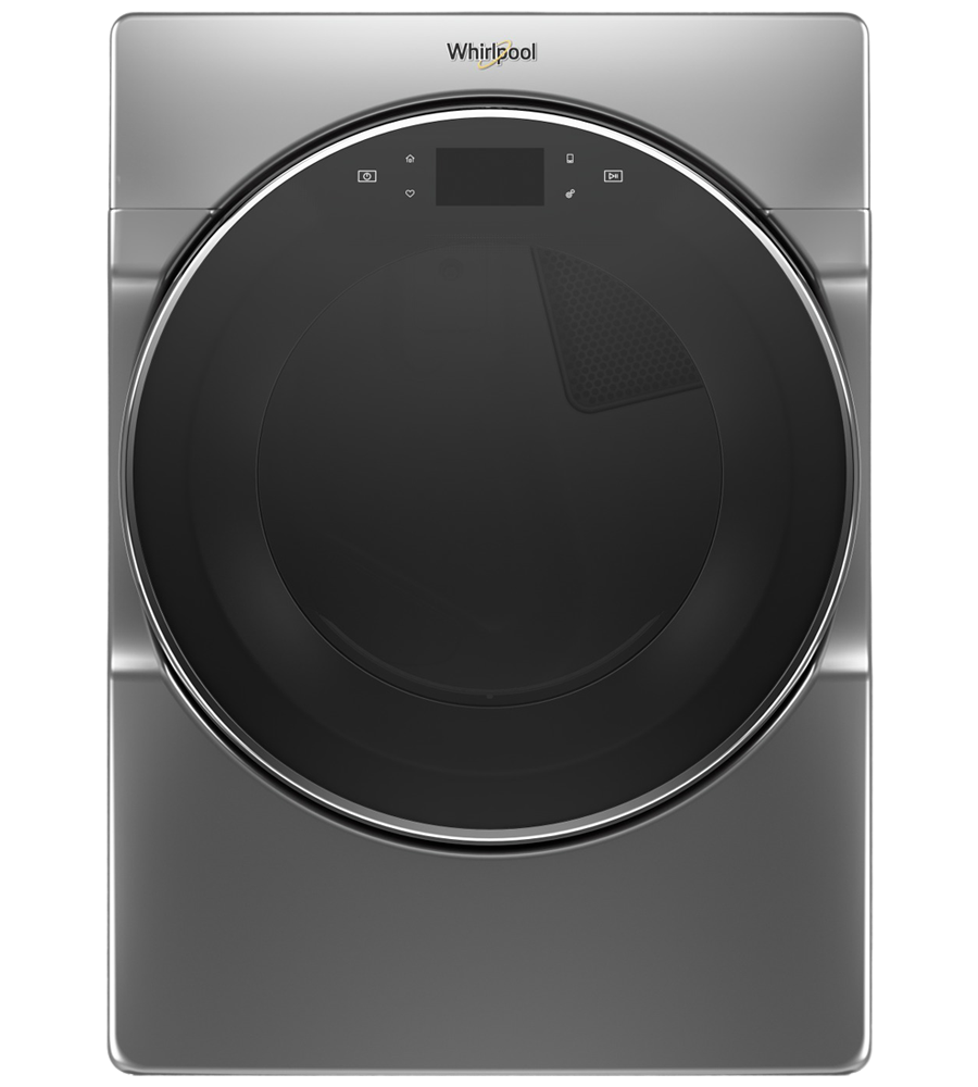 Whirlpool Dryer in Chrome Shadow color showcased by Corbeil Electro Store