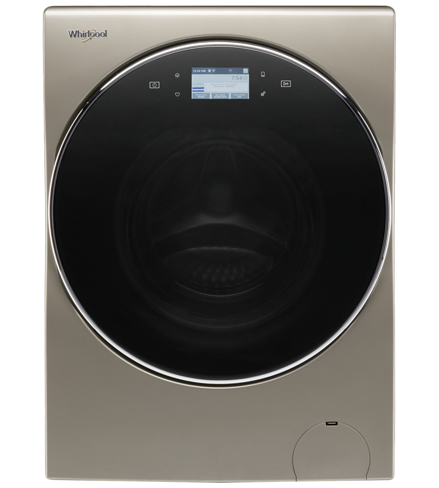 Whirlpool 2in1 washer in Cashmere color showcased by Corbeil Electro Store