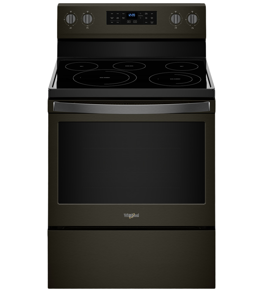 Whirlpool Range 30 YWFE550S0H in Black Stainless Steel color showcased by Corbeil Electro Store