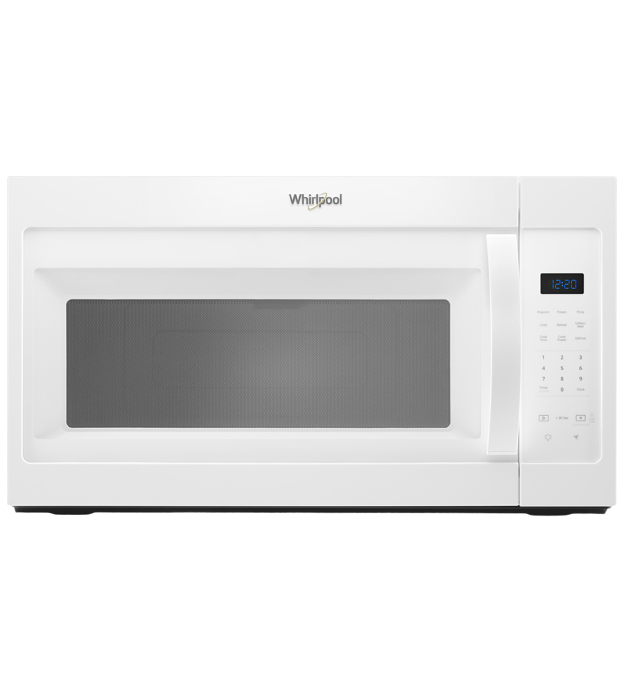 Whirlpool OTR microwave in White color showcased by Corbeil Electro Store