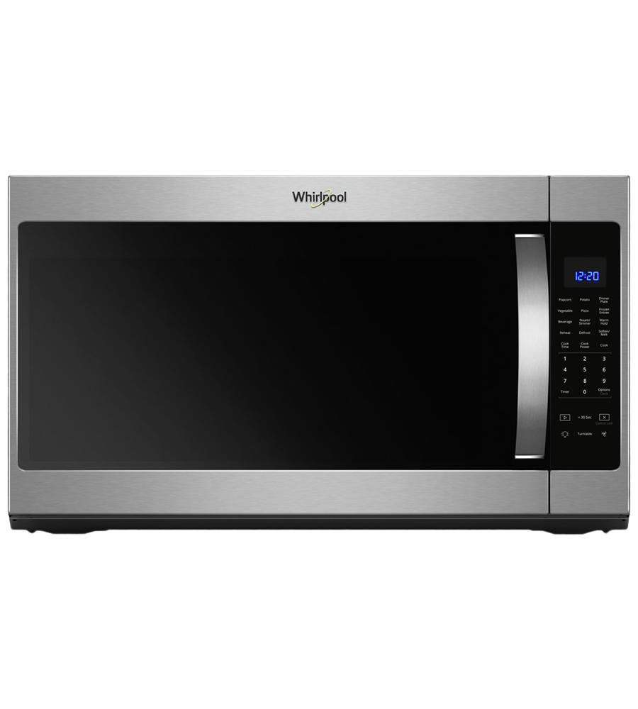 Whirlpool Over-the-range microwave 30 in Stainless Steel color showcased by Corbeil Electro Store