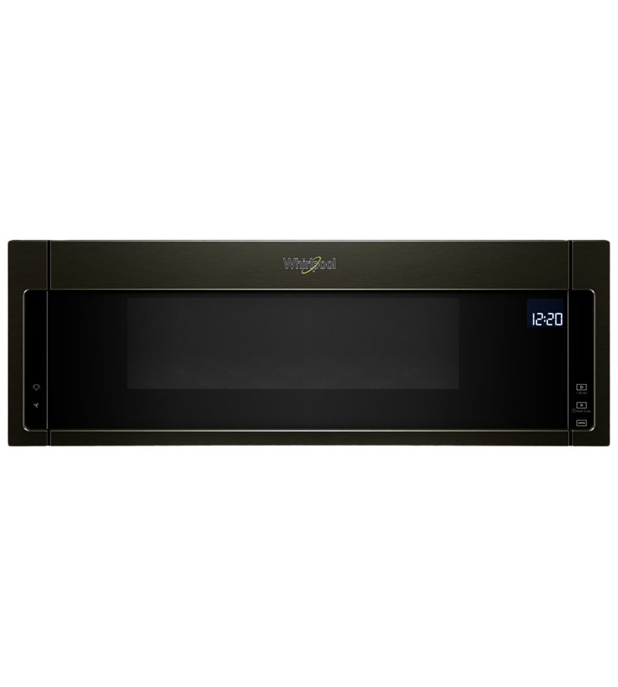 Whirlpool Over-the-range microwave 30 in Black Stainless Steel color showcased by Corbeil Electro Store