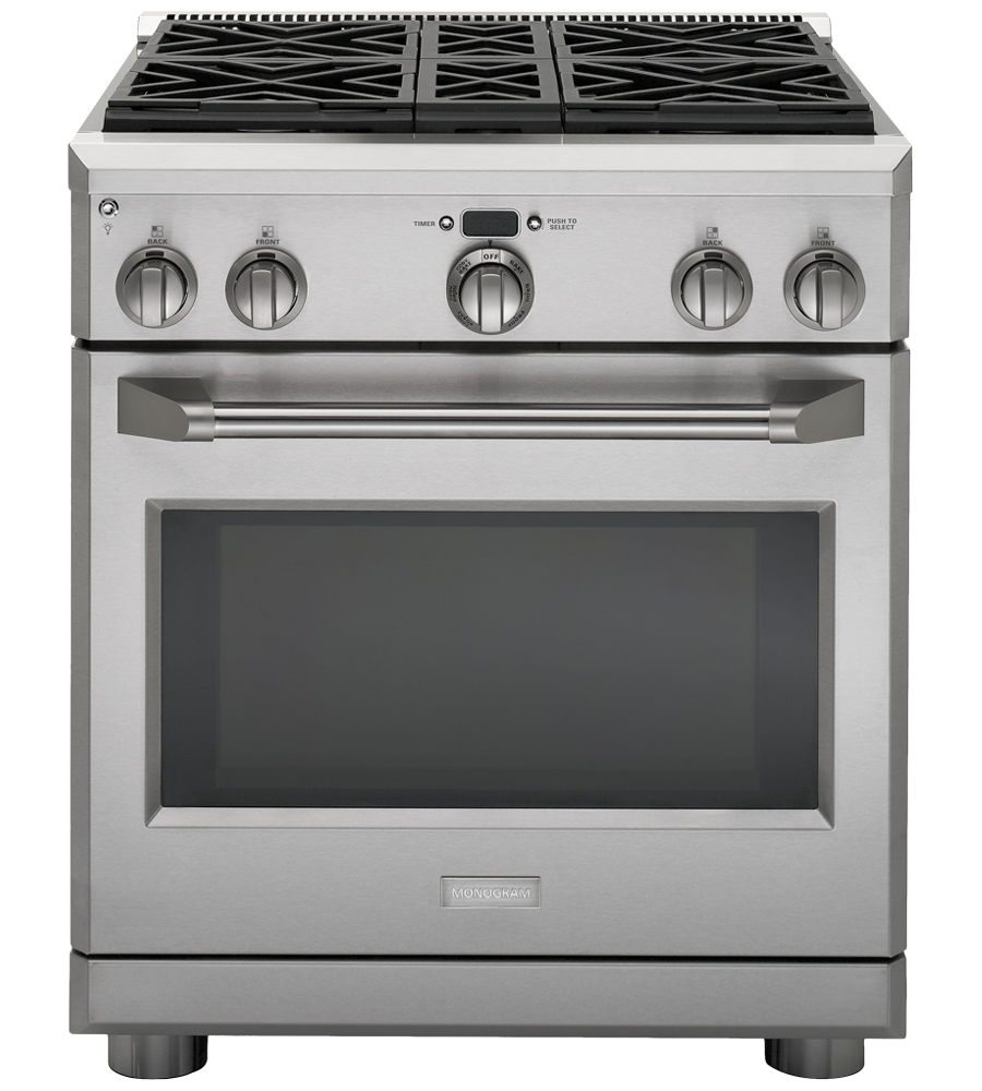 Monogram Range in Stainless Steel color showcased by Corbeil Electro Store