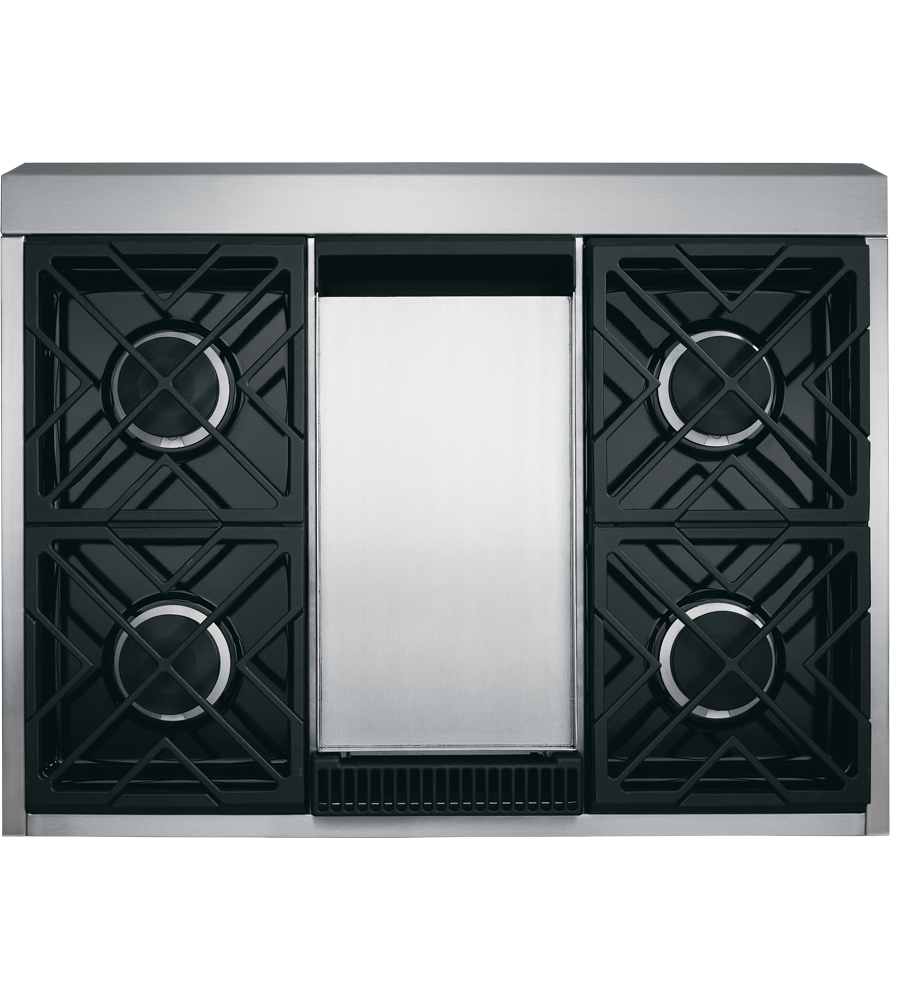 Monogram Cooktop in Stainless Steel color showcased by Corbeil Electro Store