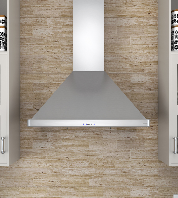 La hotte Siena de Zephir possède une forme pyramidale classique et offre une grande puissance. Avec son ventilateur de 650PCM et la technologie de commande ICON TouchMD