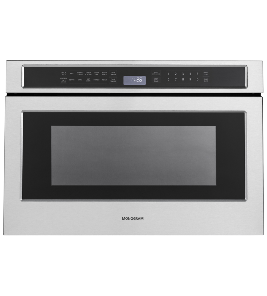 Monogram Microwave in Stainless Steel color showcased by Corbeil Electro Store